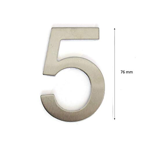 Número para casas (acero inoxidablePlata brillante adhesiva, altura 7.5 cm, Número de casa, número de puerta Design 5