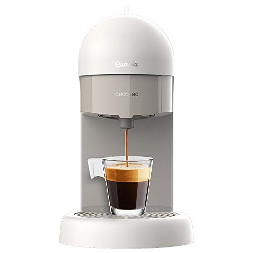Cecotec Cafetera espresso Cumbia Capricciosa White. 19 Bares de presión, Apta para café molido y cápsulas monodosis ESE, Depósito agua 600 ml, Filtro apto lavavajillas