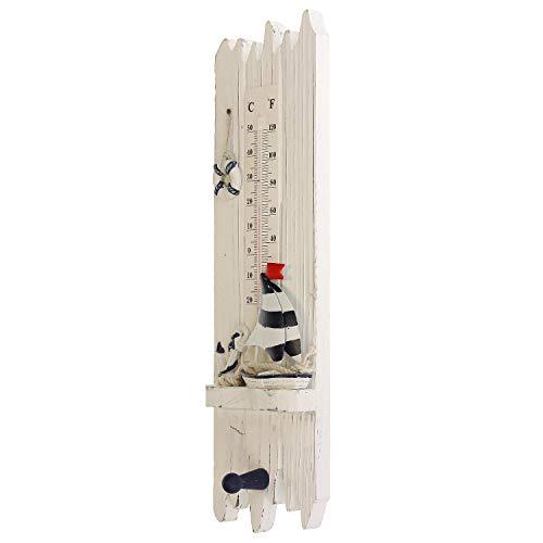 Macosa BGT05262 Thermometer maritiem hout analoge badkamerdecoratie temperatuurmeter binnenthermometer met haak handdoekhaak temperatuurweergave binnen