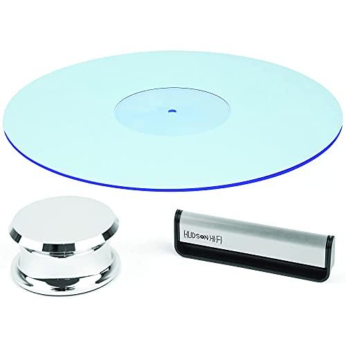 Hudson Hi-Fi SmallBen Chrome Record Stabilizer Bundled with Turntable Acrylic Slipmat Platter Mat BlueLit