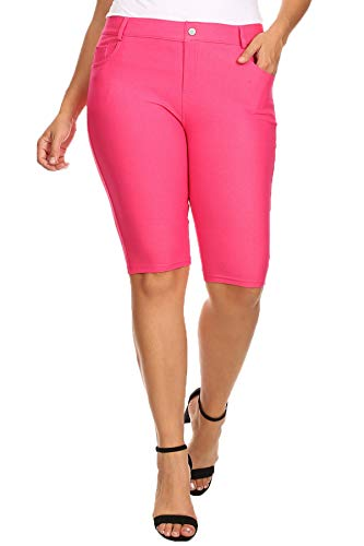 YELETE Women's Classic Bermuda Shorts (Fuchsia, XLarge)