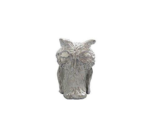 Zinngeschenke Eule aus Zinn silberfarben, vollplastisch, Setzkastenfigur, Vitrinenfigur, Sammlerstück, Zinnfigur (HxB) 3,3 x 2,2 cm