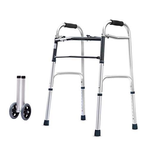 NBVCX Haushaltsprodukte Leichte geriatrische ältere Gehhilfe mit 2 Rädern Faltbarer Gehzimmerrahmen - Höhenverstellbare Aluminium-Gehhilfenarmlehne
