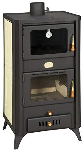 Estufa de leña con horno para sistema de calefacción central. Potencia de calentamiento de 18+5 kw.