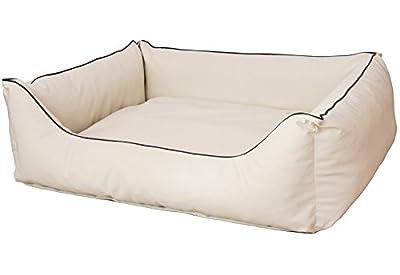CopcoPet - Cama para perros Rocco 2 en 1, impermeable y de piel sintética, con colchón de plástico para perros con espuma de copos o espuma viscoelástica ortopédica.