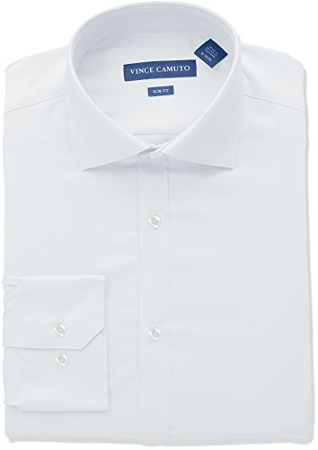 Vince Camuto Men's Slim Fit Spread Collar Solid Dress Shirt, White, 16.5 34/35