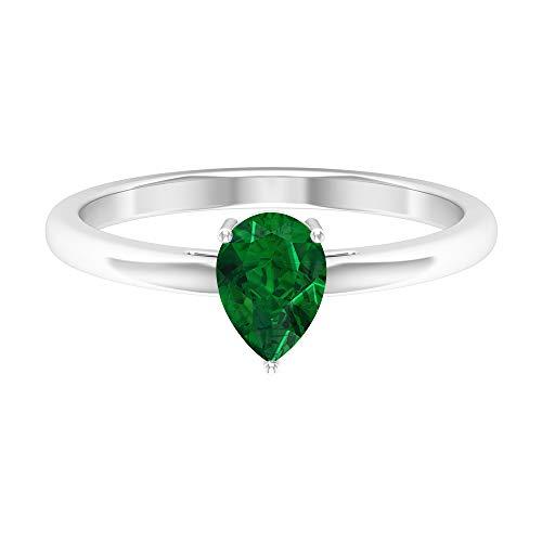 Anillo solitario de 3/4 quilates esmeralda, anillo de compromiso de lágrima, anillo de compromiso, 5 x 7 mm, anillo de corte de pera, simple anillo de boda de oro, 14K White Gold, Emerald, Size:US 70