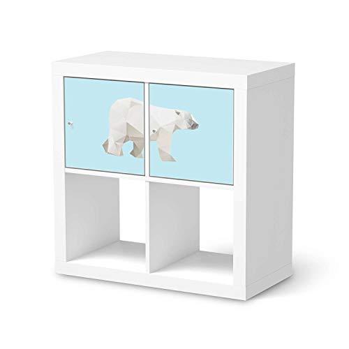 creatisto Kinder Möbel-Folie - passend für IKEA Kallax Regal 2 Türen Quer I Schöne Kinder-Möbel Deko - Möbelfolie für Kinder- und Babyzimmer I Design: Origami Polar Bear