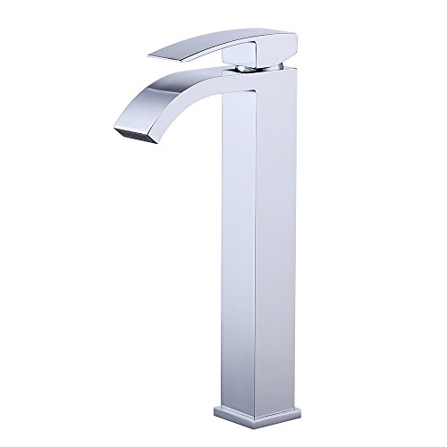 KES cUPC NSF Certified BRASS Lead-Free Brass Bathroom Sink Faucet Single Handle Waterfall Spout for Vessel Bowl Sink Faucet Countertop Tall Polished Chrome, L3109BLF-CH