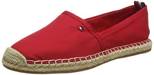 Tommy Hilfiger Basic Tommy Flat Espadrille, Zapatos de tacón con Punta Abierta para Mujer, Rojo (Primary Red XLG), 40 EU