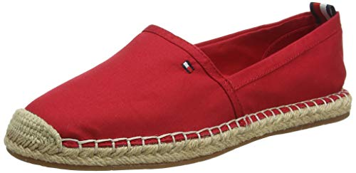 Tommy Hilfiger Damen Basic Tommy Flat Espadrille Peeptoe Pumps, Rot (Primary Red XLG), 41 EU