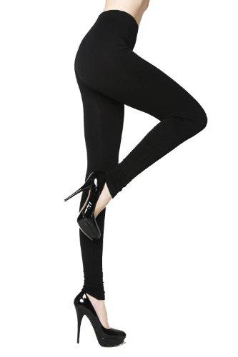 YELETE New Lady's Solid Color Nylon Seamless Leggings (Black)