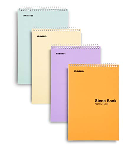 Mintra Office Steno Book - (Pastel Colors, 4 Pads/Pack, Narrow Ruled) - 6inx9in, 70 Sheets, Notebook for writing notes in school, university, college, work, office
