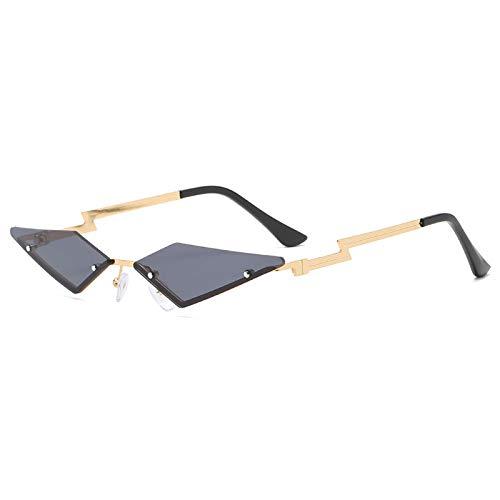 Gafas de sol, 2 unidades, lentes de sol de moda, triángulo pequeño, gafas de sol a la moda, personalidad, estuche de regalo (color 04)