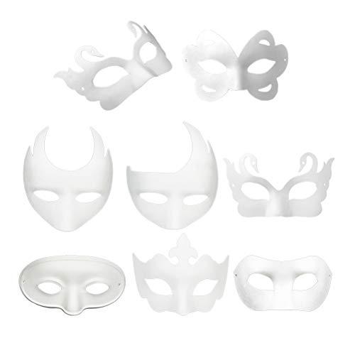 Amosfun Weiße Masken 8pcs DIY unbemalte Maskerade Masken Plain Half Face Masken Papier Zellstoff Maske DIY einfache Leere Maske Halloween Party Favors