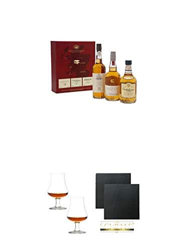 Classic Malts Collection Gentle 3 x 0,2 Liter + Stölzle Nosingglas für Whisky 2 Gläser - 1610031 + Schiefer Glasuntersetzer eckig ca. 9,5 cm Ø 2 Stück