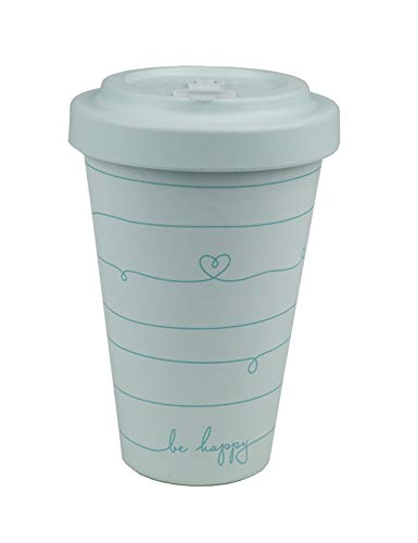 Grafik-Werkstatt Premium Becher mit Deckel |Kaffeebecher to go | 400 ml | Be happy