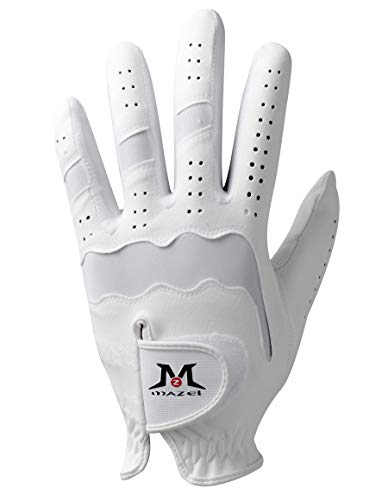 MAZEL Premium Men's Golf Gloves Left Hand,Hot Wet Weather Sweat-Absorbing,Fit Size S M L XL (White, S)