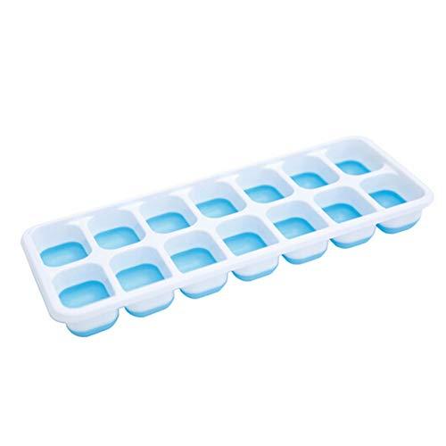 BoBoLily Moldes de silicona para tartas, 4 unidades, 14 rejillas, para cubitos de hielo, rectangulares, para hacer helados (azul)
