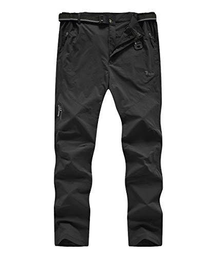 donhobo Herren Outdoor Wanderhose Quick Dry Campinghose Ultraleichter Verschleißfester UV-Schutz Atmungsaktiv Trekkinghose Funktionshose Schwarz XL