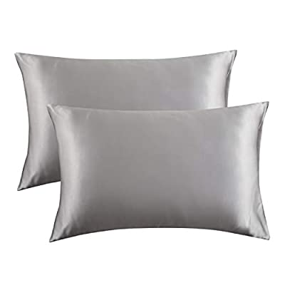 Bedsure Satin Pillowcase for Hair and Skin Silk Pillowcase 2 Pack, Queen Size(Silver Grey, 20x30 inches) Pillow Cases Set of 2 - Slip Cooling Satin Pillow Covers with Envelope Closure from Bedshe
