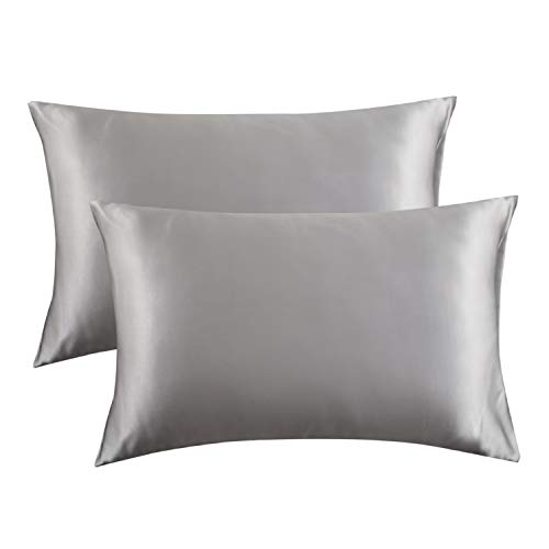 Bedsure Satin Pillowcase for Hair and Skin Silk Pillowcase 2 Pack, Queen Size(Silver Grey, 20x30 inches) Pillow Cases Set of 2 - Slip Cooling Satin Pillow Covers with Envelope Closure