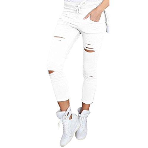 Xinan Damen Yoga Hose Women Skinny Ripped Pants High Taille Stretch Slim Bleistift Hose (S, Weiß)