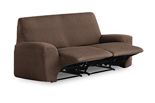 Textilhome - Copridivano Relax TEIDE Elasticizzato, Taglia 2 Posti - Fodere Protettiva Adatto per Divano Pieghevole - 180 a 220 cm. Colour Marrone