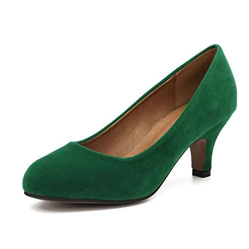 Women's Classic Round Toe Pump Kitten Low Heel Shoes Velvet Green 39 - US 8