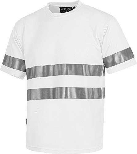 Work Team Camiseta Cuello Caja, Manga Corta, Cintas Reflectantes. Hombre Blanco M