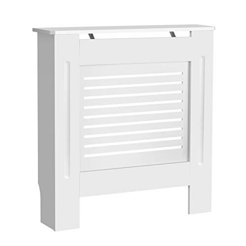 Mueble para radiador pintado, diseño moderno, color blanco, tablero DM, varios tamaños, blanco (Horizontal, S)