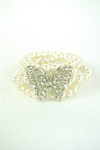 Bracelet Pearl and Diamante Cuff Bracelet With Butterfly Brooch Jewelled