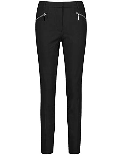 Taifun Damen Hose mit Zippertaschen Lounge Pants schlanke Silhouette Black 46