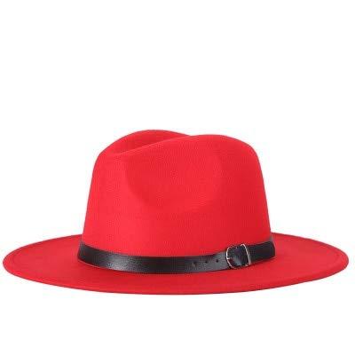 Hombres Fedoras Moda Mujer Sombrero de Jazz Verano Primavera Gorra Negra Sombrero Casual al Aire Libre X XL-red-56-58CM