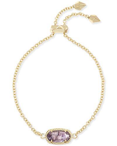 Kendra Scott Elaina Link Chain Bracelet for Women, Dainty Fashion Jewelry, 14k Gold-Plated Brass, Amethyst