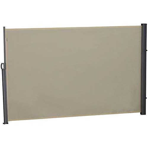 Outsunny Toldo Lateral Retráctil 180x300 cm Pantalla Enrollable Protección de Intimidad Solar para Pantalla de Balcón Terraza Color Crema