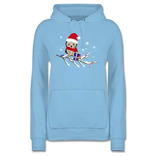 Weihnachten & Silvester - Weihnachtseule Eule - M - Hellblau - eulen Pullover Frauen - JH001F - Damen Hoodie und Kapuzenpullover für Frauen