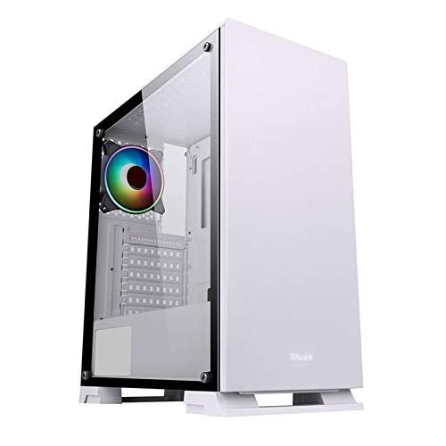 ZXFF Estuche De Juego, Mid-Tower ATX/M-ATX/ITX-PC Funda De Juego, Panel Lateral De Vidrio Templado, USB3.0 / USB 2.0, Soporte De Refrigeración por Agua (Color : White)