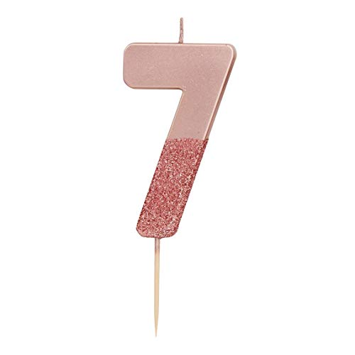 Talking Tables Rose Gold Glitter Number 7 Candle | Premium Quality Cake Topper Decoration Pretty, Sparkly | for Kids, Adults, 7th, 70th Birthday Party, Anniversary, Milestone