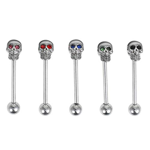 BESTOYARD 5 Pcs Stainless Steel Skull Diamonds Tongue Rings Barbell Piercing Tongue Bars Body Percing Jewelry Mixed Color for Halloween Party Supplies