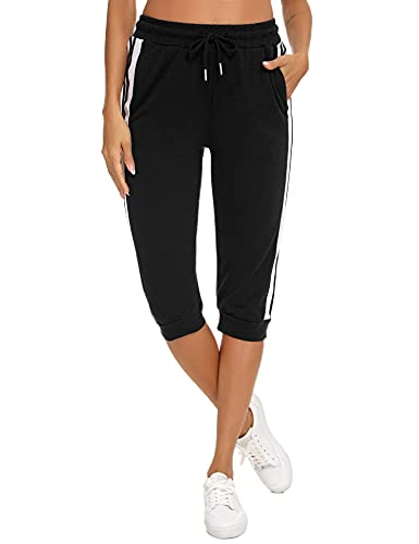 Sykooria Pantalones Piratas Mujer 3/4 Pantalones Mujer Verano Deporte Casual con 3 Bolsillos Pantalones Capri para Yoga Fitness Jogger Danza