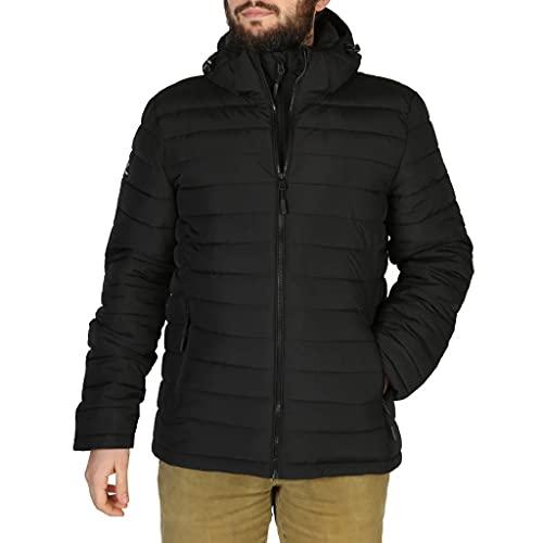 Superdry Herren Hooded Fuji Quilted Jacket, Schwarz, L EU