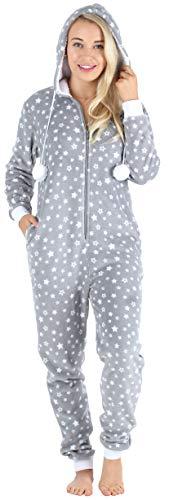 Frankie & Johnny Women's Hooded Fleece Non-Footed Onesie Loungewear Pajamas, Grey Stars, MED