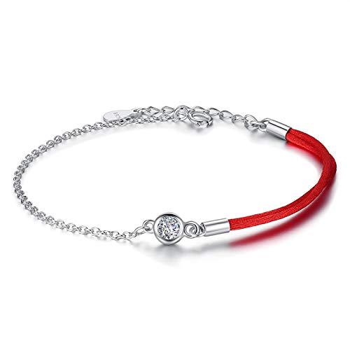HMANE Pulsera de Cadena de eslabones de Cristal de Plata de Ley 925 Pulsera de Cuerda roja Ajustable para Mujeres y niñas Regalo de joyería de Moda