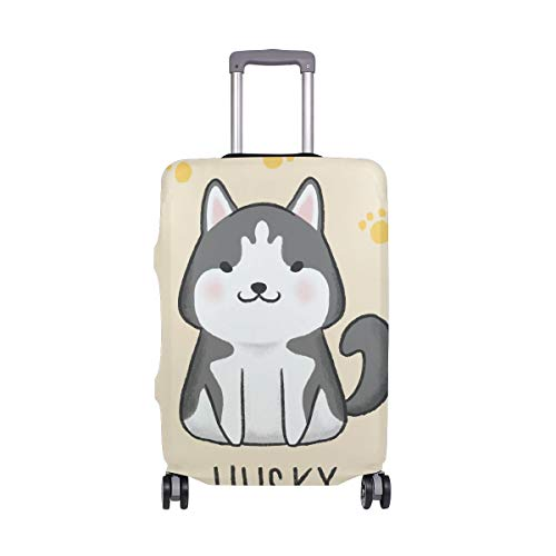 Funda Protectora para Maleta Husky Dog Paw Prints, de Licra, para Adultos, Mujeres, Hombres, Adolescentes, se Adapta a 18 – 20 Pulgadas