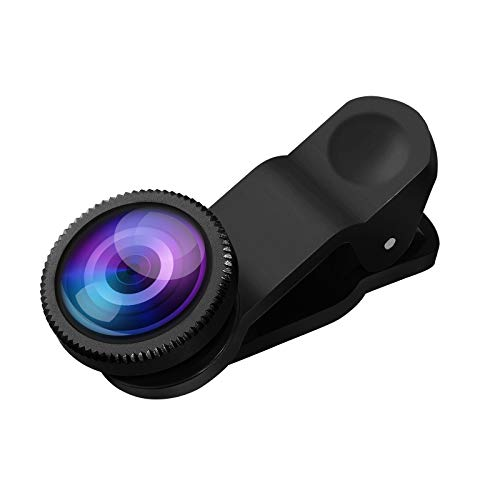 Hemobllo Universal-Handy-Kameraobjektiv Super Weitwinkelobjektiv Makroobjektiv Fisheye-Objektiv Clip auf 3 in 1 Handyobjektiv für iPhone 6S / 7/8 / X (Schwarz)