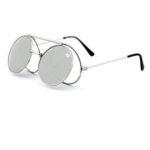 KISS Sonnenbrille MyRetro PREMIUM mod. PICCADILLY - Mann Frau FLIP-UP Runde Vintage STEAMPUNK - SILVER/Silver