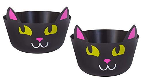 Best Prices! 2 Piece Halloween Black Pink and White Adorable Cat Candy Treat Party Bowl