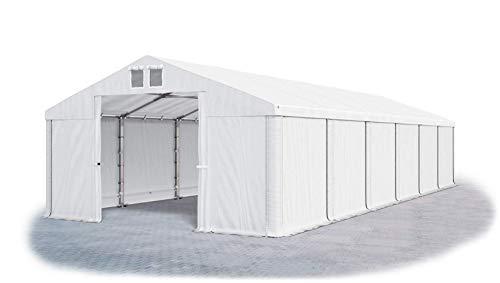 Das Company Tendone Deposito 6x12m Tendone Bianco Impermeabile 560g/m² Tenda da stoccaggio Rinforzo dell'Ingresso Gazebo Magazzino Tenda Capannone con telone in PVC Winter MSD