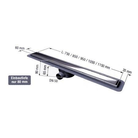Linearis Compact KESSEL Duschrinne Edelstahldesign 85 cm Superflach